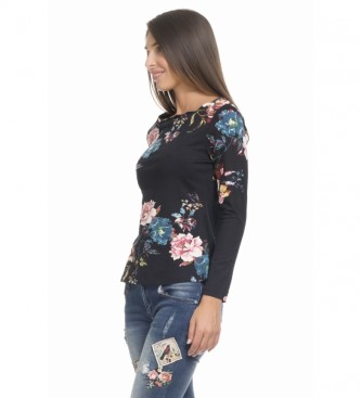 Peace and Love T-Shirt con stampa nera