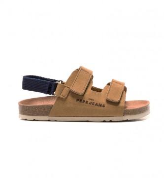 Pepe Jeans Sandálias de Rapaz com Velcro Castanho Biológico