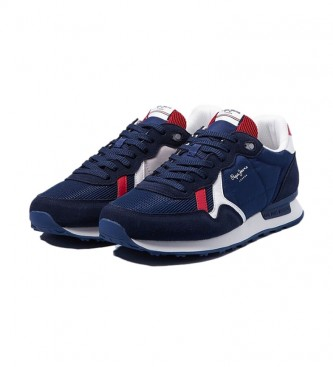 Pepe Jeans Britt Reverse navy leather sneakers