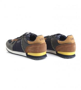 Pepe Jeans Baskets en cuir combiné Tinker bleu, gris, marron