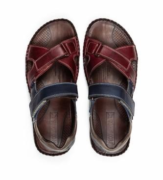 Pikolinos Leather sandals Tarifa 06J blue, maroon