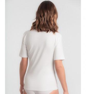 Playtex T-shirt à manches courtes en coton thermique blanc