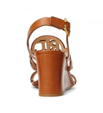 Ralph Lauren Sandali Amilea in pelle marrone -Altezza zeppa: 6,5 cm-