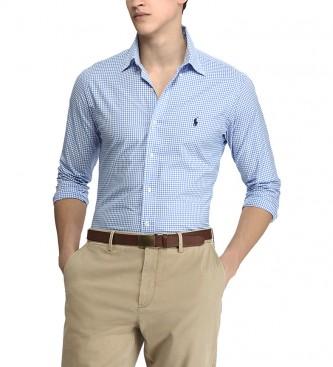 Ralph Lauren Camisa Camisa de Popelina de Cuadros Slim Fit azul