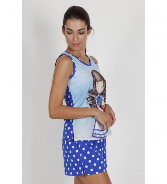 Santoro Pyjama sans bretelles, bleu, pour le beachball