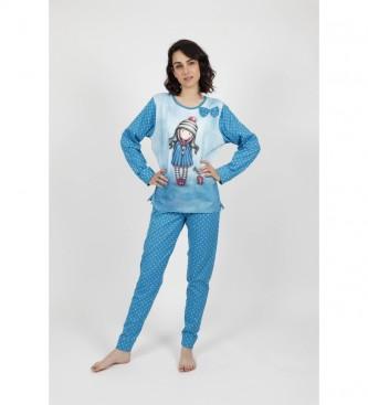 Santoro Pyjama à manches longues Pom Pom bleu