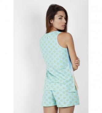 Santoro Pyjama bleu à bretelles Hello Summer
