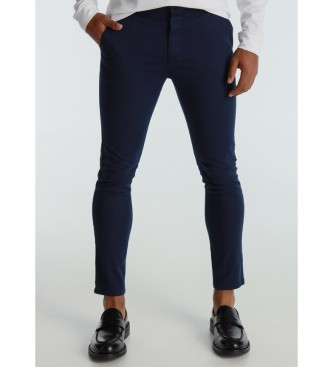 Six Valves Pantalon chino slim en satin bleu marine
