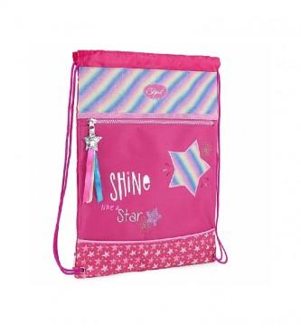 Skpat Printed Polyester Gym Bag 131341 fuchsia -30x40x1cm