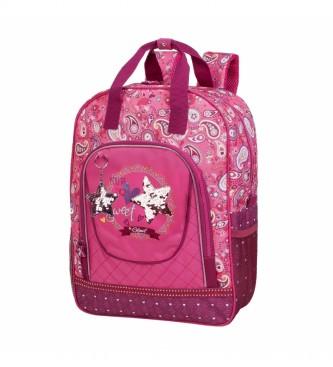 Skpat Girl's School Bag. Padded and printed 130305 fuchsia -42x32x14cm