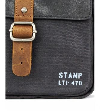 Stamp Saco de couro ao ombro BHST04722NE preto -25x21x5cm