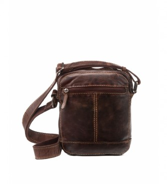 Stamp Leather shoulder bag BHST00123MA dark brown -22x17x7cm