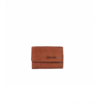 Stamp Leather wallet MHST00048NE brown -7x10x2cm