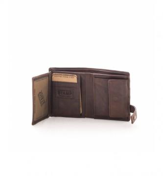 Stamp Billetero de piel MHST00298MA marrón oscuro -11x9x2cm-