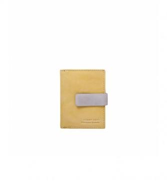 Stamp Carteira de couro MMST33312AM amarelo -10x8x2cm