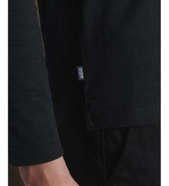 Superdry T-shirt nera ricamata in cotone biologico vintage