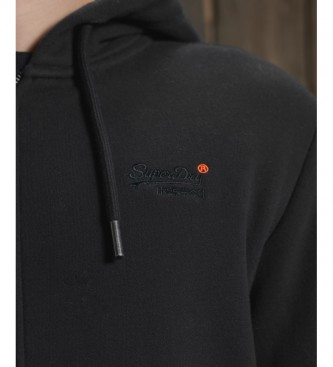 Superdry Orange Label Classic Hoodie with Zipper, Black