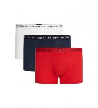 Tommy Hilfiger 3 Pacotes de Boxers Tronco Essentials com Logo Marinha, Vermelho, Branco