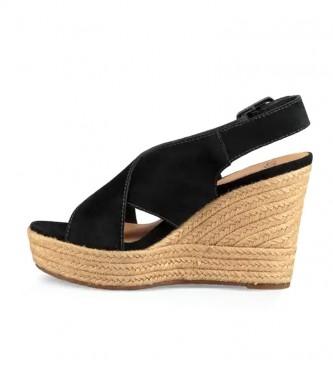 UGG Sandálias de couro preto Harlow -Cunha de altura: 10cm