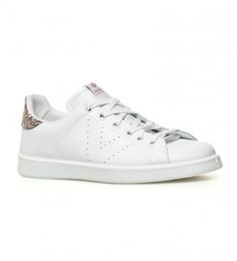 Victoria Sapatos de couro branco, rosa