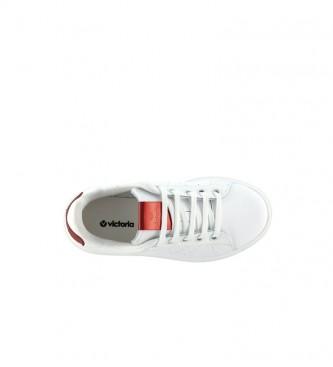 Victoria Utopia sapatos de couro branco, vermelho