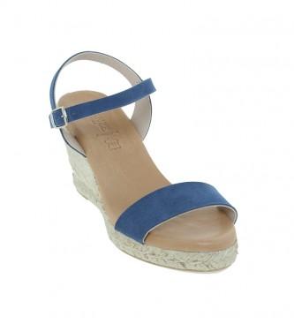 VISANZE Sandalias de piel 20049 azul -Altura cuña 8cm-