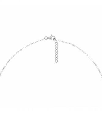Yocari Silver Necklace with Silver Ring & Zirconia Motif, Black