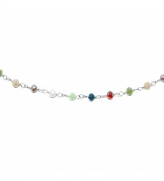 Yocari Colar de rosário Fusos multicor prata -40-42 cm