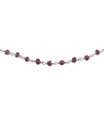 Yocari Colar Rosário Fusos vermelho prateado -40-42 cm