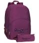 Mochila Pepe Jeans Harlow Violeta doble compartimento + estuche escolar -30,5x42,5x15cm-