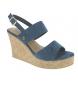 Sandalia de cuña azul -Altura cuña: 9cm-