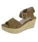 Sandalias de cuña camel -Altura cuña: 7cm-