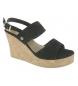 Sandalia de cuña negro -Altura cuña: 9cm-