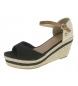 Sandalias de cuña negro -Altura cuña: 7,5cm-