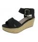 Sandalias de cuña negro -Altura cuña: 7cm-
