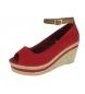 Sandalias de cuña rojo -Altura cuña: 8cm-