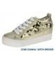 Zapatillas oro metalizadas -Altura cuña: 3,5cm-