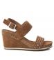 Sandalias de piel 066634 camel -Altura cuña: 9cm-