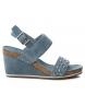 Sandalias de piel 066634 jeans -Altura cuña: 9cm-