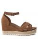 Compar Carmela Leather Sandal 066689 camel - Wedge height: 9cm