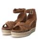 Comprar Carmela Leather Sandal 066689 camel - Wedge height: 9cm