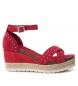 Sandalia de piel 066689 rojo -Altura cuña: 9cm-