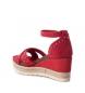 Comprar Carmela Sandalia de piel 066689 rojo -Altura cuña: 9cm-