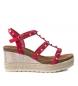 Sandalia de piel 066719 rojo -Altura cuña: 8cm-