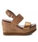 Compar Carmela Sandal leather 066732 camel - Wedge height: 10cm