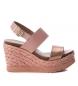 Sandalia de piel 066732 nude -Altura cuña: 10cm-