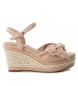 Sandalia de piel 066675 nude -Altura cuña: 9cm-