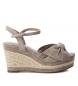 Sandalia de piel 066675 taupe -Altura cuña: 9cm-