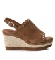 Compar Carmela Sandal leather 066676 camel - Wedge height: 9cm