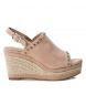Compar Carmela Leather sandal 066676 nude - Wedge height: 9cm